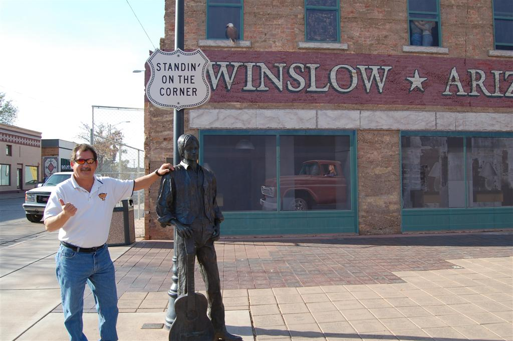 standing on the corner in winslow arizona. Black Bedroom Furniture Sets. Home Design Ideas